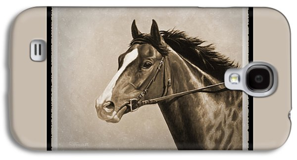 Race Horse Galaxy S4 Cases - Race Horse Old Photo FX Galaxy S4 Case by Crista Forest