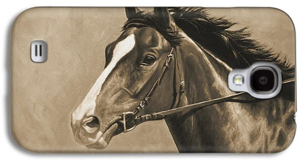 Horse Racing Galaxy S4 Cases - Racehorse Painting In Sepia Galaxy S4 Case by Crista Forest