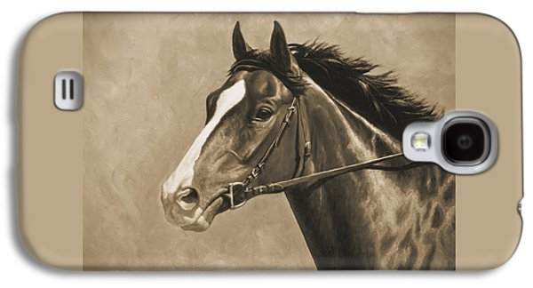 Race Horse Galaxy S4 Cases - Racehorse Painting In Sepia Galaxy S4 Case by Crista Forest