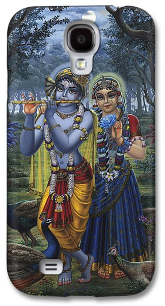 Temple Paintings Galaxy S4 Cases - Radha and Krishna on full moon Galaxy S4 Case by Vrindavan Das