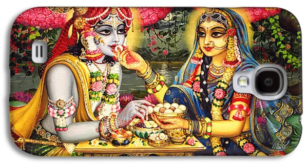 Temple Paintings Galaxy S4 Cases - Radha Krishna Bhojan Lila on Yamuna Galaxy S4 Case by Vrindavan Das