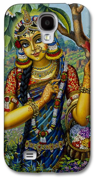 Temple Paintings Galaxy S4 Cases - Radha on Govardhan hill Galaxy S4 Case by Vrindavan Das