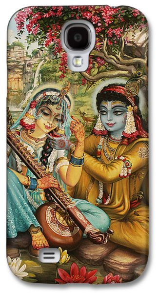 Temple Paintings Galaxy S4 Cases - Radha playing vina Galaxy S4 Case by Vrindavan Das