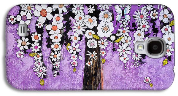 Botanical Galaxy S4 Cases - Radiant Orchid Flower Tree Galaxy S4 Case by Blenda Studio