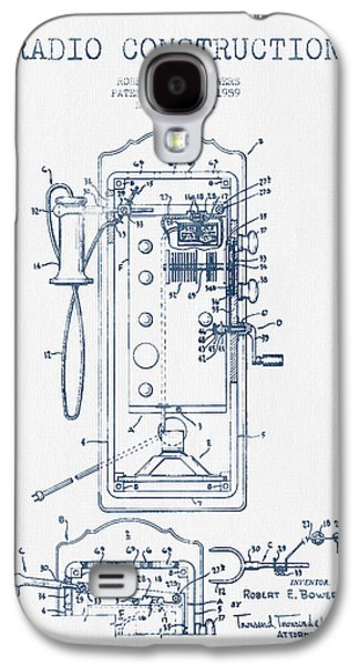 Radio Galaxy S4 Cases - Radio Constuction Patent Drawing From 1959 - Blue Ink Galaxy S4 Case by Aged Pixel