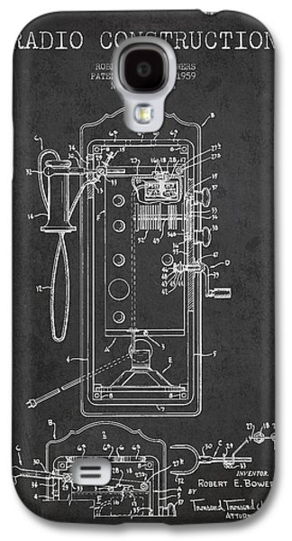 Radio Galaxy S4 Cases - Radio Constuction Patent Drawing From 1959 - Dark Galaxy S4 Case by Aged Pixel