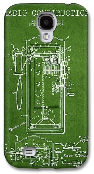 Radio Galaxy S4 Cases - Radio Constuction Patent Drawing From 1959 - Green Galaxy S4 Case by Aged Pixel