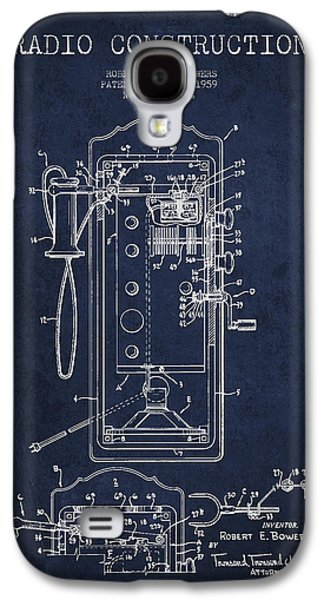 Radio Galaxy S4 Cases - Radio Constuction Patent Drawing From 1959 - Navy Blue Galaxy S4 Case by Aged Pixel