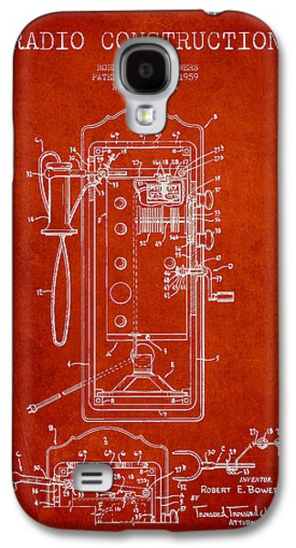 Radio Galaxy S4 Cases - Radio Constuction Patent Drawing From 1959 - Red Galaxy S4 Case by Aged Pixel