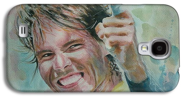 French Open Paintings Galaxy S4 Cases - Rafa Nadal - Portrait 3 Galaxy S4 Case by Baresh Kebar - Kibar