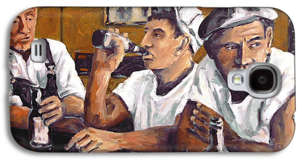 Quebec Streets Paintings Galaxy S4 Cases - Railroad Men at the Bar by Prankearts Galaxy S4 Case by Richard T Pranke