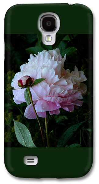 Botanical Galaxy S4 Cases - Rain-soaked Peonies Galaxy S4 Case by Rona Black