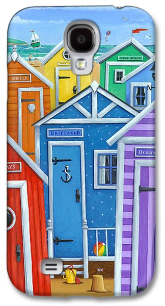 Drawing Galaxy S4 Cases - Rainbow Beach Huts Galaxy S4 Case by Peter Adderley