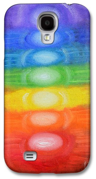Chakra Rainbow Paintings Galaxy S4 Cases - Rainbow Colors Painting Multicolored Abstract CHAKRA COLORS by Chakramoon - Yoga Painting Modern Art Galaxy S4 Case by Belinda Capol