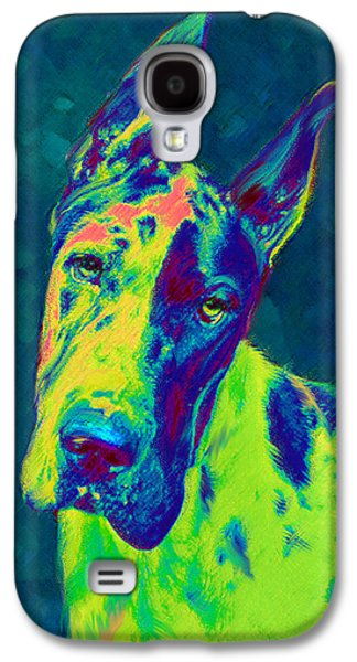 Puppy Digital Art Galaxy S4 Cases - Rainbow Dane Galaxy S4 Case by Jane Schnetlage