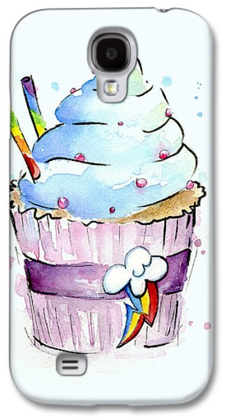 Fan Paintings Galaxy S4 Cases - Rainbow-Dash-Themed Cupcake Galaxy S4 Case by Olga Shvartsur