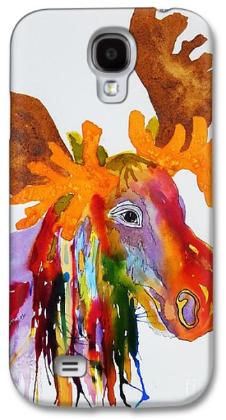 Splashy Art Galaxy S4 Cases - Rainbow Moose Head  - Abstract Galaxy S4 Case by Ellen Levinson