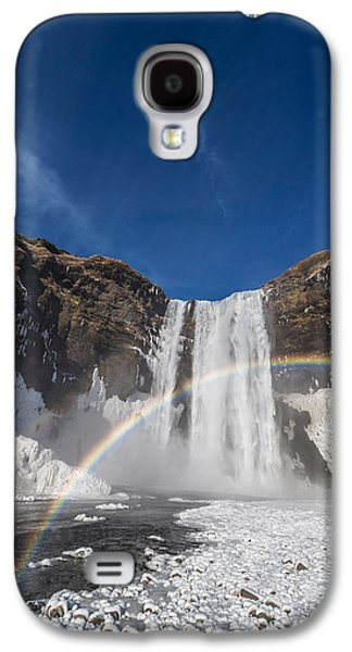 Landscapes Photographs Galaxy S4 Cases - Rainbow Over Skogarfoss Waterfall Galaxy S4 Case by Panoramic Images
