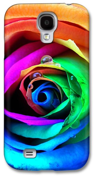 Pride Galaxy S4 Cases - Rainbow Rose Galaxy S4 Case by Juergen Weiss