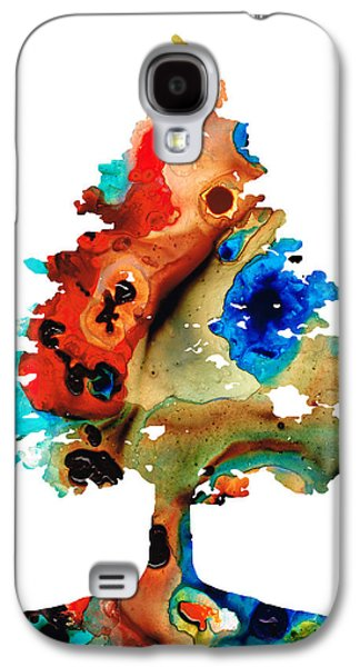 Fall Trees Fall Color Galaxy S4 Cases - Rainbow Tree 2 - Colorful Abstract Tree Landscape Art Galaxy S4 Case by Sharon Cummings