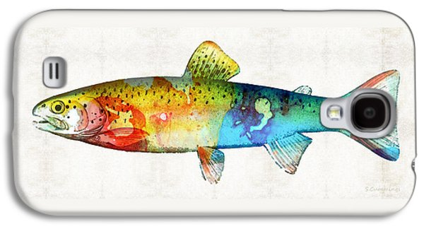 Trout Paintings Galaxy S4 Cases - Rainbow Trout Art by Sharon Cummings Galaxy S4 Case by Sharon Cummings
