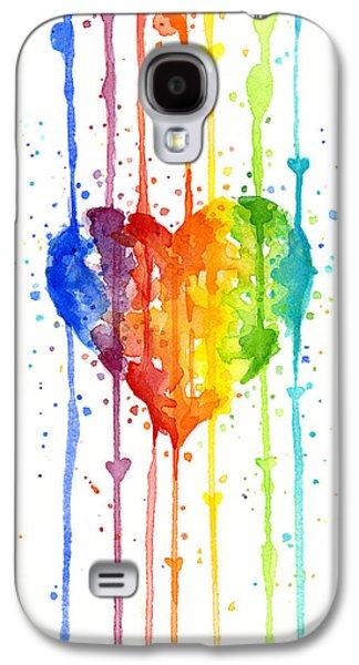 Pride Paintings Galaxy S4 Cases - Rainbow Watercolor Heart Galaxy S4 Case by Olga Shvartsur