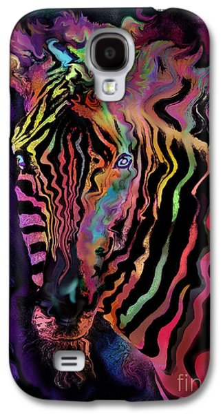 Zebra Digital Art Galaxy S4 Cases - Rainbow Zebra Galaxy S4 Case by Alixandra Mullins