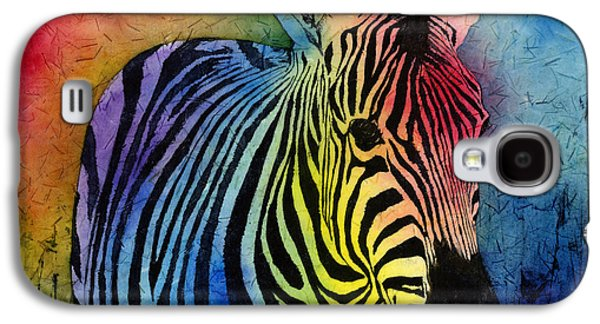 Artistic Paintings Galaxy S4 Cases - Rainbow Zebra Galaxy S4 Case by Hailey E Herrera