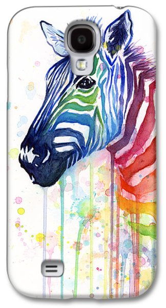 Watercolor Paintings Galaxy S4 Cases - Rainbow Zebra - Ode to Fruit Stripes Galaxy S4 Case by Olga Shvartsur