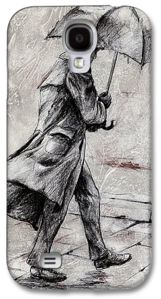 Walking Mixed Media Galaxy S4 Cases - Rainy Day #07 Drawing Galaxy S4 Case by Emerico Imre Toth