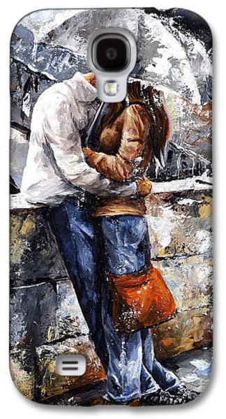 Male Paintings Galaxy S4 Cases - Rainy day - Love in the rain Galaxy S4 Case by Emerico Imre Toth