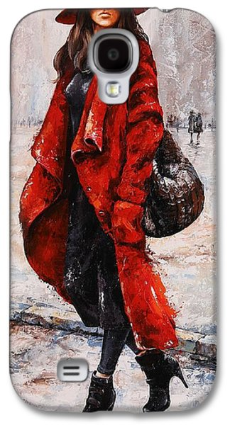 Nyc Rain Galaxy S4 Cases - Rainy Day - Red and black #2 Galaxy S4 Case by Emerico Imre Toth