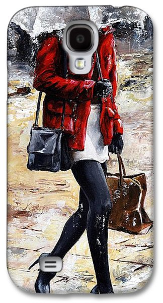 Nyc Rain Galaxy S4 Cases - Rainy day - Woman of New York 09 Galaxy S4 Case by Emerico Imre Toth