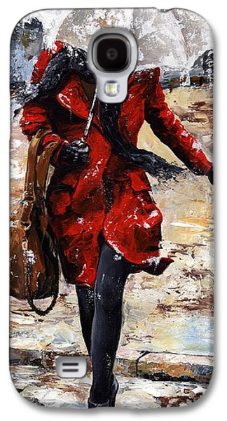 City Scenes Paintings Galaxy S4 Cases - Rainy day - Woman of New York 10 Galaxy S4 Case by Emerico Imre Toth
