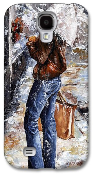 Nyc Rain Galaxy S4 Cases - Rainy day - Woman of New York 15 Galaxy S4 Case by Emerico Imre Toth