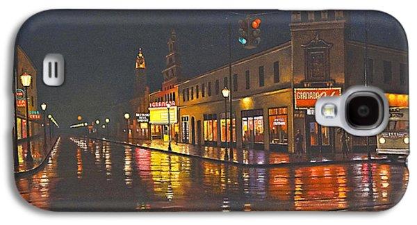 Rain Paintings Galaxy S4 Cases - Rainy Night-117th and Detroit     Galaxy S4 Case by Paul Krapf