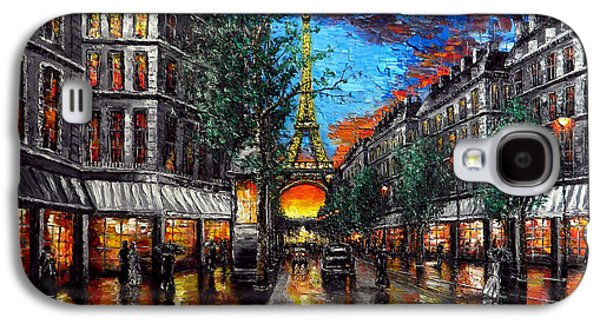 Original Reliefs Galaxy S4 Cases - Rainy Sunset in Paris Galaxy S4 Case by Alexandru Rusu