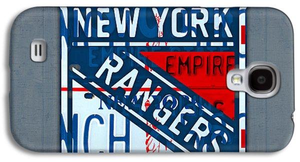 Hockey Mixed Media Galaxy S4 Cases - Rangers Original Six Hockey Team Retro Logo Vintage Recycled New York License Plate Art Galaxy S4 Case by Design Turnpike