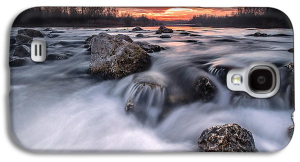 Landscapes Photographs Galaxy S4 Cases - Rapids on sunset Galaxy S4 Case by Davorin Mance