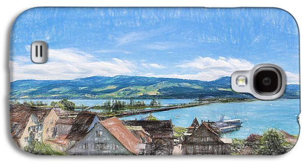 Swiss Drawings Galaxy S4 Cases - Rapperswil - colored pencil Galaxy S4 Case by Carsten Reisinger