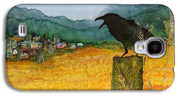 Village Tapestries - Textiles Galaxy S4 Cases - Raven and the Village 2 Galaxy S4 Case by Carolyn Doe