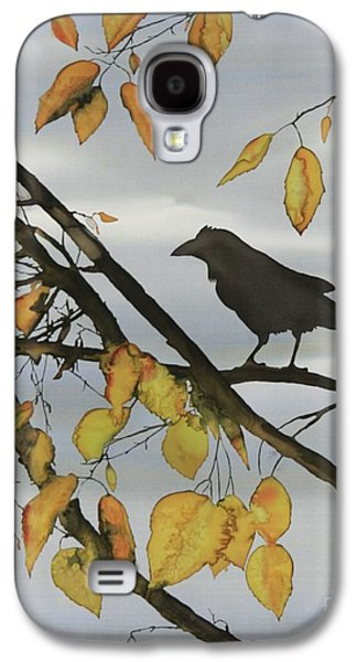 Animals Tapestries - Textiles Galaxy S4 Cases - Raven In Birch Galaxy S4 Case by Carolyn Doe