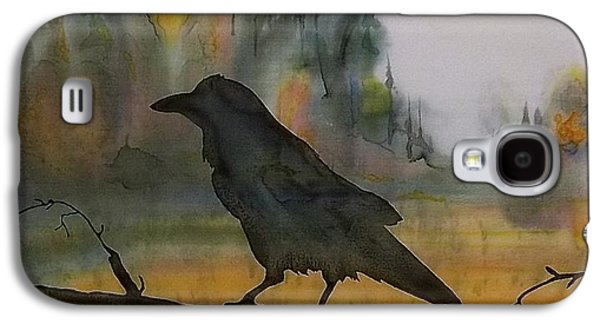 Autumn Landscape Tapestries - Textiles Galaxy S4 Cases - Raven In Orange Birch Galaxy S4 Case by Carolyn Doe