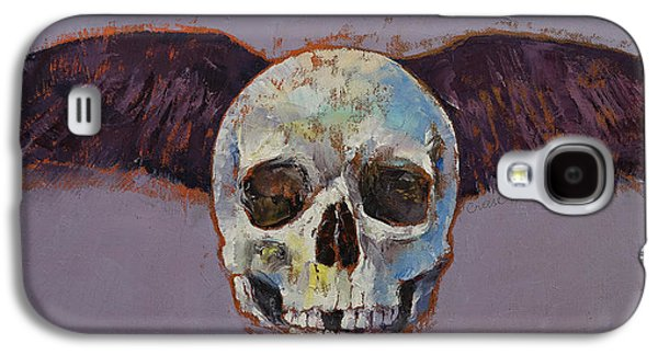 Surrealistic Paintings Galaxy S4 Cases - Raven Skull Galaxy S4 Case by Michael Creese