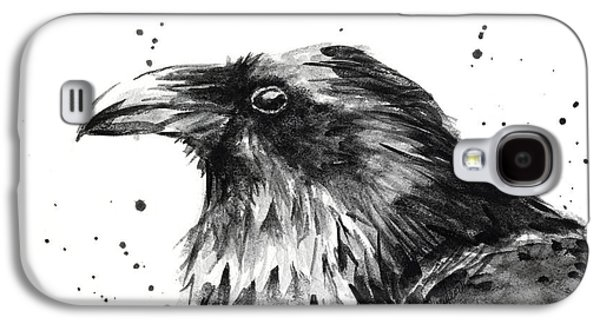 Crows Paintings Galaxy S4 Cases - Raven Watercolor Portrait Galaxy S4 Case by Olga Shvartsur