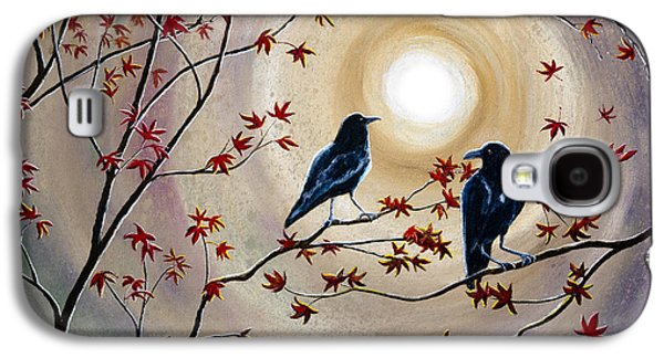 Earth Tones Paintings Galaxy S4 Cases - Ravens in Autumn Galaxy S4 Case by Laura Iverson