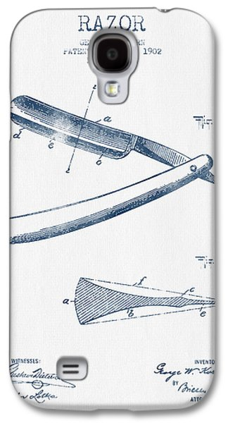 Groom Galaxy S4 Cases - Razor Patent from 1902 - Blue Ink Galaxy S4 Case by Aged Pixel