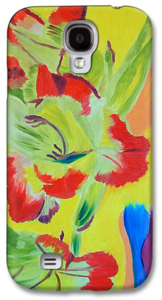 Gladiolas Paintings Galaxy S4 Cases - Reaching Up Galaxy S4 Case by Meryl Goudey
