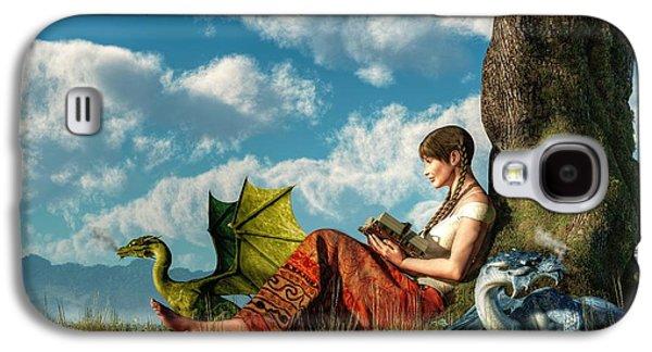 Reading About Dragons Galaxy S4 Case by Daniel Eskridge