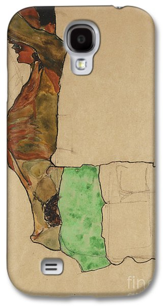 Person Galaxy S4 Cases - Reclining Male Nude with Green Cloth Galaxy S4 Case by Egon Schiele